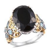 Australian Black Tourmaline, Electric Blue Topaz 14K YG and Platinum Over Sterling Silver Butterfly Band Ring (Size 7.0) TGW 15.70 cts.