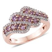 Madagascar Purple Sapphire, Cambodian Zircon 14K RG Over Sterling Silver Ring (Size 9.0) TGW 1.58 cts.