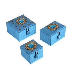 Blue Hand Embriodary Set of 3 Box