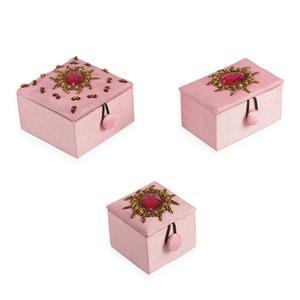 Pink Hand Embriodary Set of 3 Box