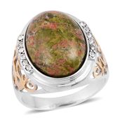 Unakite, White Austrian Crystal ION Plated YG and Stainless Steel Men's Ring (Size 10.0) TGW 3.24 cts.