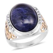 Sodalite, White Austrian Crystal ION Plated YG and Stainless Steel Men's Ring (Size 11.0) TGW 3.24 cts.