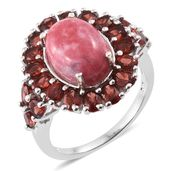 Norwegian Thulite, Mozambique Garnet Platinum Over Sterling Silver Ring (Size 11.0) TGW 11.56 cts.