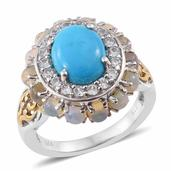 Arizona Sleeping Beauty Turquoise, Ethiopian Welo Opal, Cambodian Zircon 14K YG and Platinum Over Sterling Silver Ring (Size 7.0) TGW 3.99 cts.