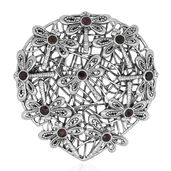 Bali Legacy Collection Niassa Ruby Sterling Silver Dragonfly Pendant/Brooch without Chain TGW 3.64 cts.