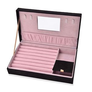 Handcrafted Black Velvet Classic Flower Jewelry Box