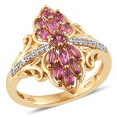 Ouro Fino Rubellite, Cambodian Zircon 14K YG Over Sterling Silver Elongated Ring (Size 7.0) TGW 0.97 cts.