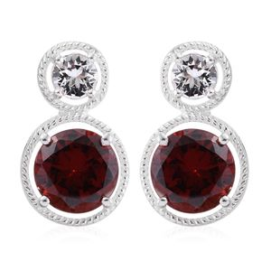 Simulated Garnet Diamond Sterling Silver Earrings Made with SWAROVSKI White Crystal TGW 9.22 cts.