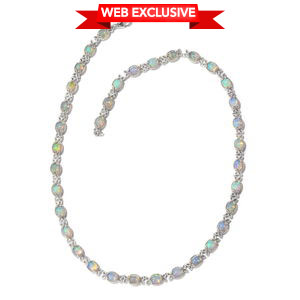 One Day TLV Ethiopian Welo Opal Platinum Over Sterling Silver Bow Tennis Necklace (18 in) TGW 18.44 cts.
