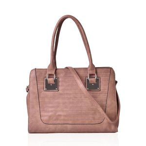Brown Stripe Embossed Faux Leather Tote Bag with Removable Strap (48in) (13.5x5x10 in)