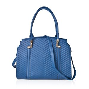 Peacock Blue Chevron Pattern Embossed Faux Leather Structured Bag with Removable Strap (46 in) (14x4.5x11 in)