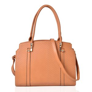 Camel Chevron Pattern Embossed Faux Leather Structured Bag with Removable Strap (46 in) (14x4.5x11 in)