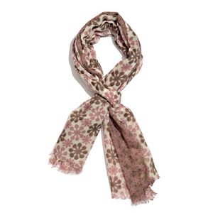 Mauve 100% Merino Wool Floral Pattern Scarf (70x27 in)