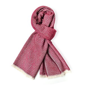 Maroon and Ivory Chevron Pattern 100% Acrylic Scarf with Fringes (72x27 in)