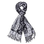 Black and White 100% Viscose Reversible Paisley and Scroll Leave Pattern Scarf with Fringes (72x24 in)