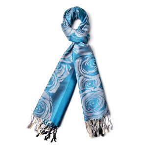 Turquoise Blue Blomming Rose Pattern 60% Acrylic & 40% Viscose Scarf (73.63x27.55 in)