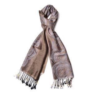Gray Blomming Rose Pattern 60% Acrylic & 40% Viscose Scarf (73.63x27.55 in)