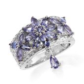Tanzanite Platinum Over Sterling Silver Drop Ring (Size 5.0) TGW 2.56 cts.