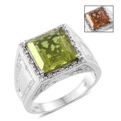 Alexite, Cambodian Zircon Platinum Over Sterling Silver Men's Ring (Size 12.0) TGW 9.10 cts.