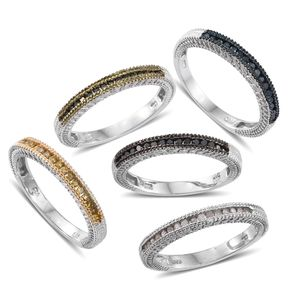 One Day TLV Multi Color Diamond (Natural & IR) Multi Rhodium & Platinum Over Sterling Silver Stackable Channel Rings (Size 5) TDiaWt 0.75 cts, TGW 0.75 cts.