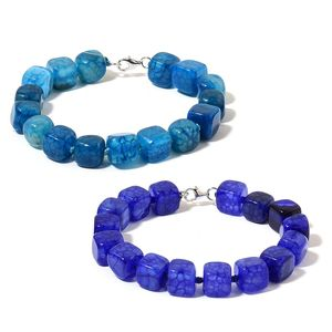 Blue Agate Beads Sterling Silver Set of 2 Bracelets (7.50 In) TGW 270.00 cts.