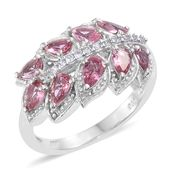 Morro Redondo Pink Tourmaline, Cambodian Zircon Platinum Over Sterling Silver Leaf Ring (Size 7.0) TGW 1.56 cts.