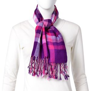 Rose Red and Purple Checks Pattern 100% Wool Scarf with Braided Tasles (39.37x47.25 in)