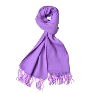 Purple 100% Wool Scarf with Tasles (11.82x62.2 in)
