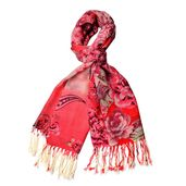 Red Flower Pattern 100% Wool Twisted Fringe Scarf (26x62 in)