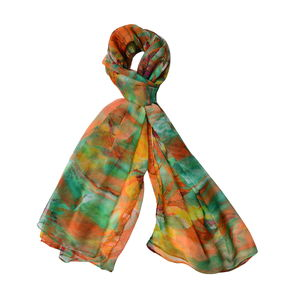 Green, Yellow and Orange 40% Natural Mulberry Silk and 60% Polyester Flower Pattern Scarf (64x40 in)