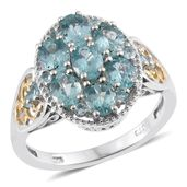 Madagascar Paraiba Apatite 14K YG and Platinum Over Sterling Silver Ring (Size 7.0) TGW 3.06 cts.