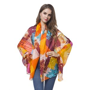 Orange and Yellow 100% Natural Mulberry Silk Modern Abstract Art Scarf (72x42 in)