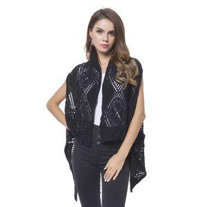 Black 100% Acrylic Knitted Argyle Pattern Kimono (One Size)