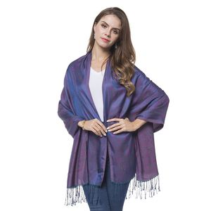 Pink, Blue, and Green 100% Polyester Reversible Baroque Pattern Scarf with Fringes (70x28 in)