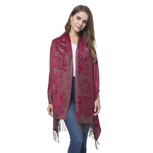 Wine Red Baroque Pattern 100% Polyester Scarf (27.55x77.96 in)