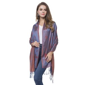 Red and Blue 100% Polyester Reversible Butterfly Pattern Scarf with Multi Color Fringes (70x28 in)