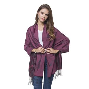 Plum, Red, and Gray 100% Polyester Reversible Butterfly Pattern Scarf with Fringes (70x28 in)