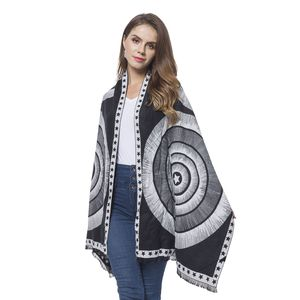 Black and White Circle Stars Pattern 100% Viscose Reversible Shawl with Fringes (72x26 in)