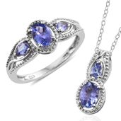 Tanzanite Platinum Over Sterling Silver Ring (Size 7) and Pendant With Chain (20 in) TGW 1.98 cts.