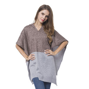 Brown and Gray 100% Acrylic Block Pattern Hooded Poncho (One Size)