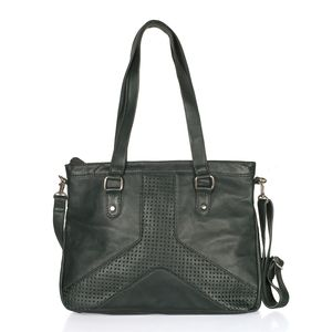 Dark Green Genuine Leather RFID Laser Cut Handbag (14.5x3.5x11 in) with Removable Strap (50 in)
