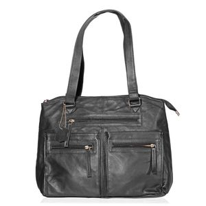 Black Genuine Leather RFID Shoulder Bag (13.25x5.5x11 In)