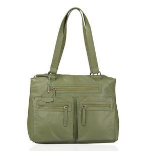 Olive Genuine Leather RFID Shoulder Bag (13.25x5.5x11 In)