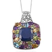 Kanchanaburi Blue Sapphire, Multi Gemstone Platinum Over Sterling Silver Pendant With Chain (20 in) TGW 11.24 cts.