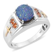 Australian Boulder Opal, Jalisco Fire Opal 14K YG and Platinum Over Sterling Silver Men's Ring (Size 10.0) TGW 2.48 cts.