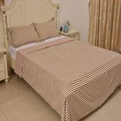 Beige Stripe Pattern Microfiber Duvet Cover (90x90 in) and Set of 2 Sham