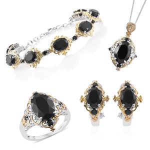 Thai Black Spinel 14K YG and Platinum Over Sterling Silver Bracelet (7.50 in), Earrings, Ring (Size 10) and Pendant With Chain (20.00 In) TGW 46.98 cts.