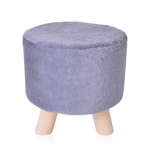 Round Gray Faux Fur and Wooden Stool (10 in)