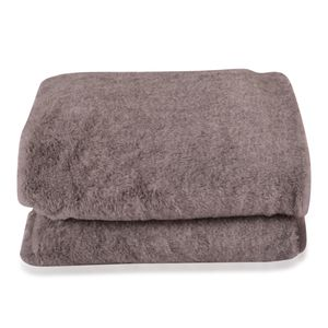 Gray Faux Fur Flannel Throw Blanket (50x60 in)
