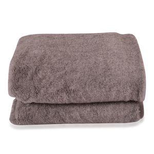 Gray Faux Fur Flannel Throw Blanket (50x60 in)